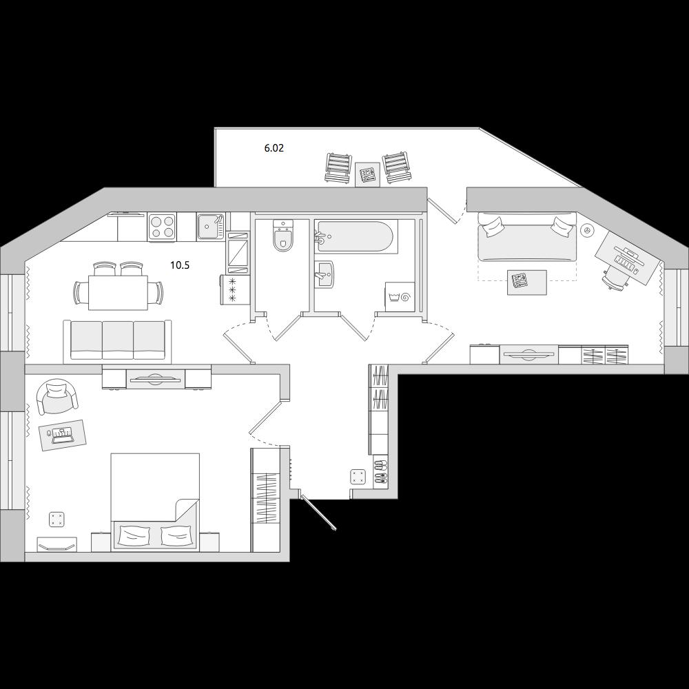 Планировка Двухкомнатная квартира площадью 55.84 кв.м в ЖК «ЦДС «Новое Мурино»»