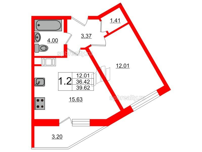 Планировка Однокомнатная квартира площадью 36.2 кв.м в ЖК «Новое Мурино»