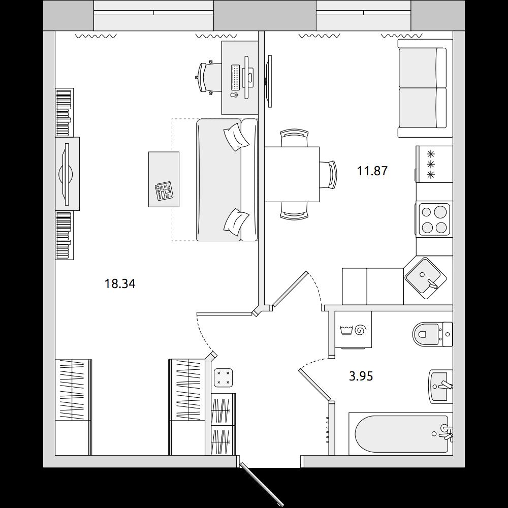 Планировка Однокомнатная квартира площадью 37.81 кв.м в ЖК «ЦДС «Новое Мурино»»
