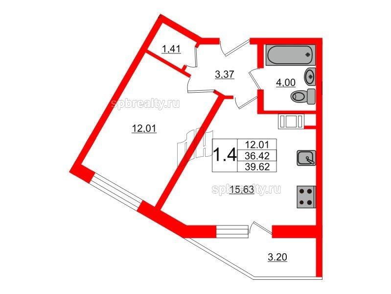 Планировка Однокомнатная квартира площадью 36.5 кв.м в ЖК «Новое Мурино»