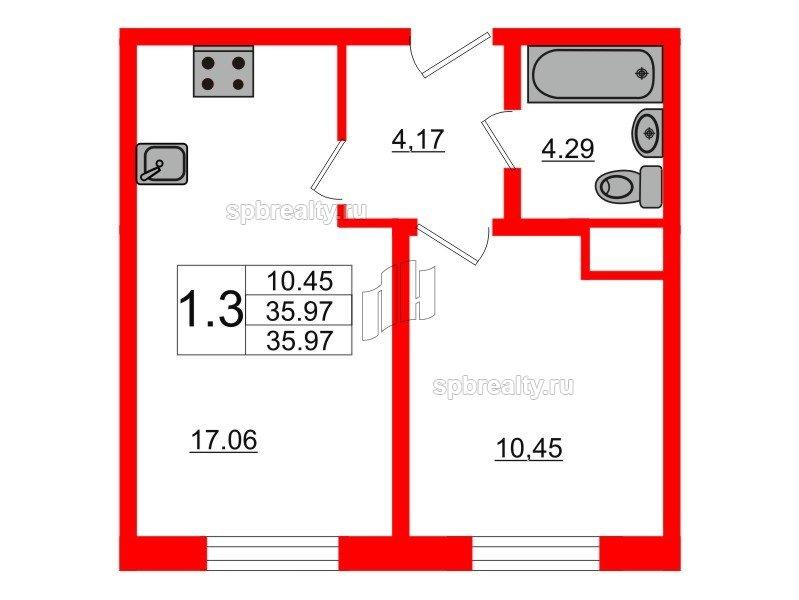 Планировка Однокомнатная квартира площадью 35.8 кв.м в ЖК «Новое Мурино»