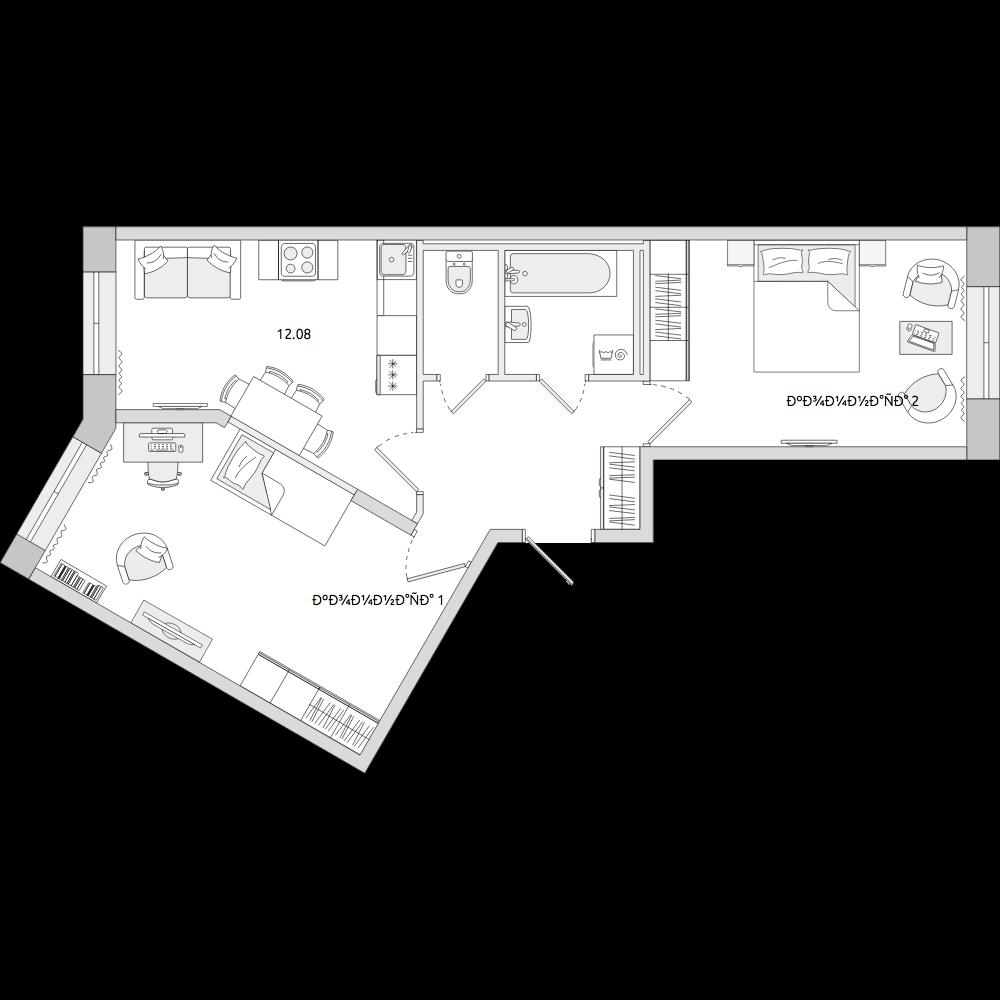 Планировка Двухкомнатная квартира площадью 51.3 кв.м в ЖК «ЦДС «Новое Мурино»»