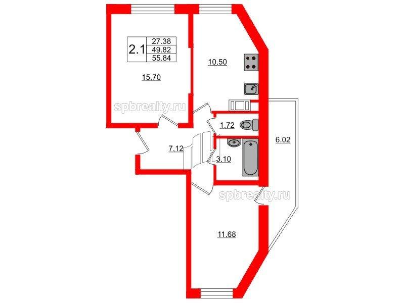 Планировка Двухкомнатная квартира площадью 49.4 кв.м в ЖК «Новое Мурино»