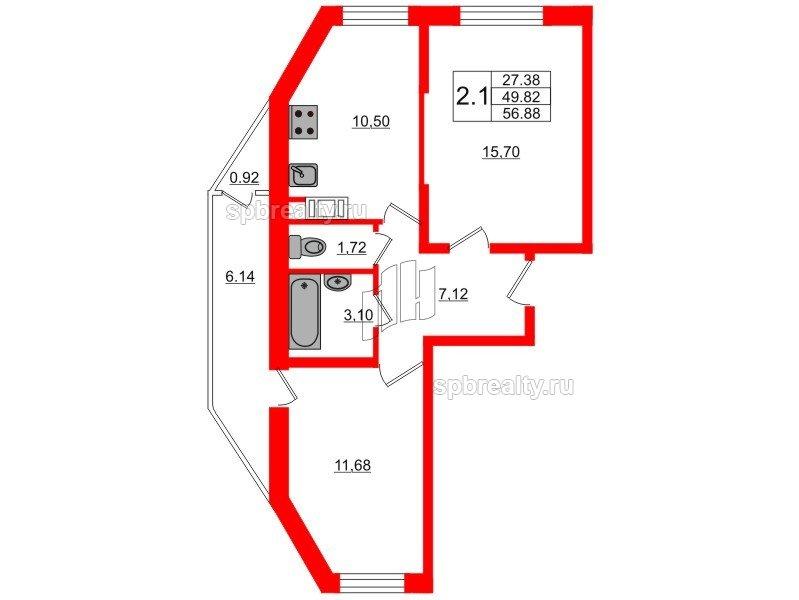 Планировка Двухкомнатная квартира площадью 49.2 кв.м в ЖК «Новое Мурино»