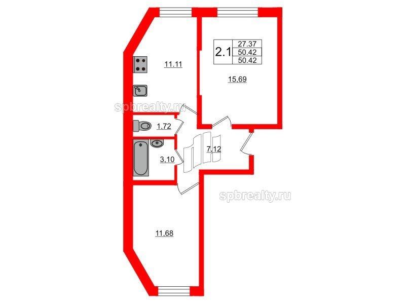 Планировка Двухкомнатная квартира площадью 49.9 кв.м в ЖК «Новое Мурино»
