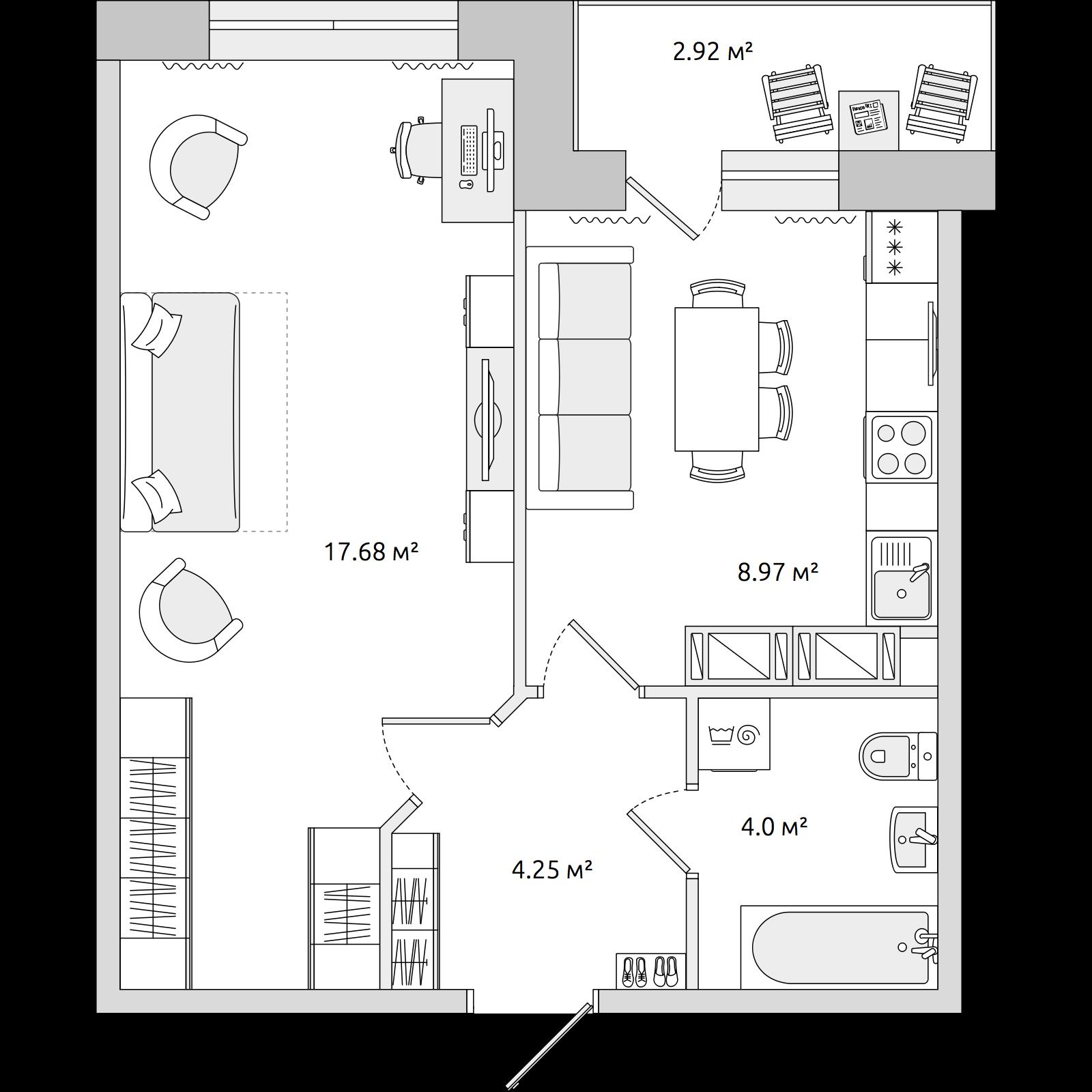 Планировка Однокомнатная квартира площадью 36.36 кв.м в ЖК «ЦДС «Новое Мурино»»