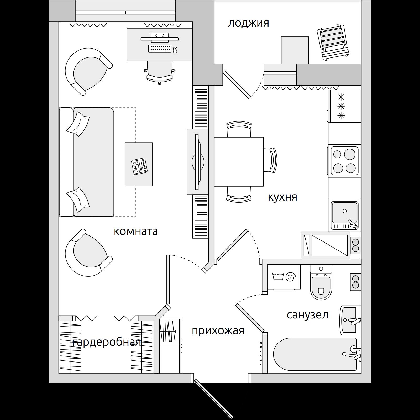Планировка Однокомнатная квартира площадью 34.1 кв.м в ЖК «ЦДС «Новое Мурино»»