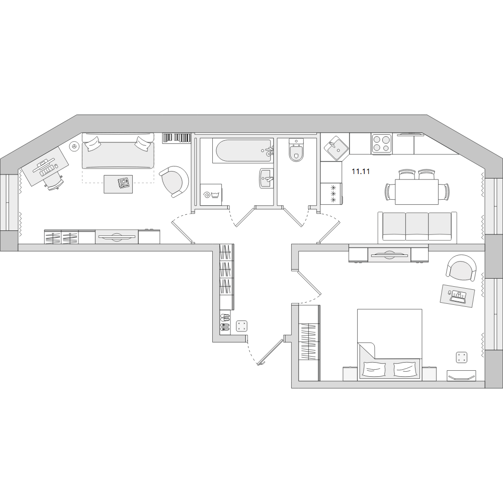 Планировка Двухкомнатная квартира площадью 50.42 кв.м в ЖК «ЦДС «Новое Мурино»»