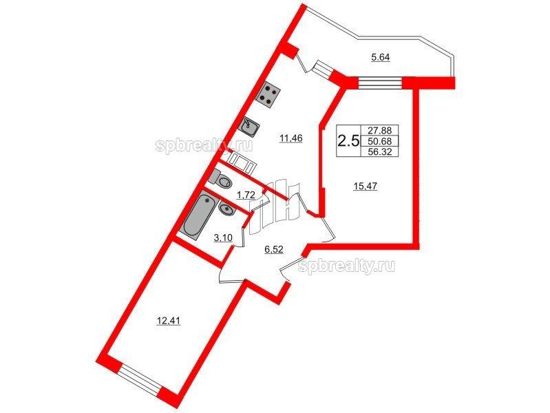 Планировка Двухкомнатная квартира площадью 50.4 кв.м в ЖК «Новое Мурино»