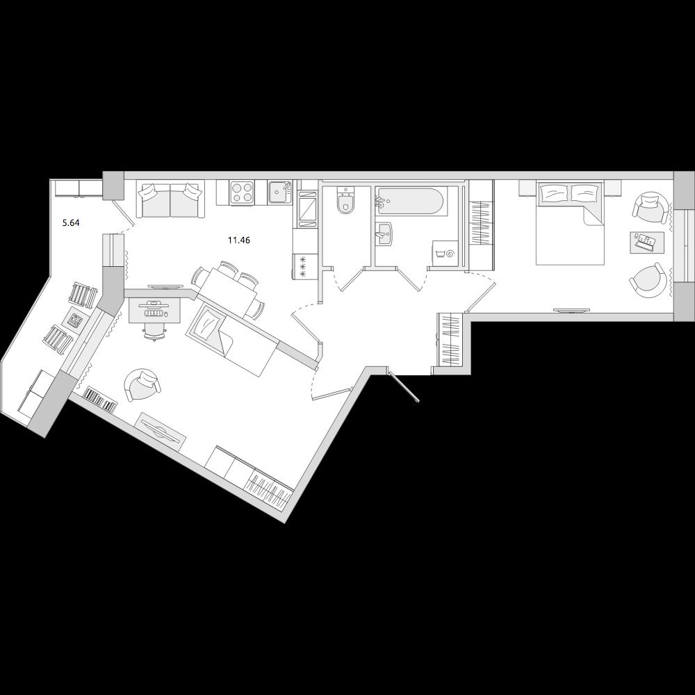 Планировка Двухкомнатная квартира площадью 56.32 кв.м в ЖК «ЦДС «Новое Мурино»»